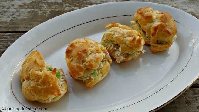 chicken salad in cream puff shell